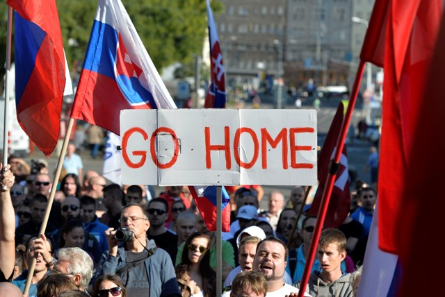 Protesters+at+an+anti-immigration+march+in+Bratislava%2C+Slovakia+on+Sep+12%2C+2015.