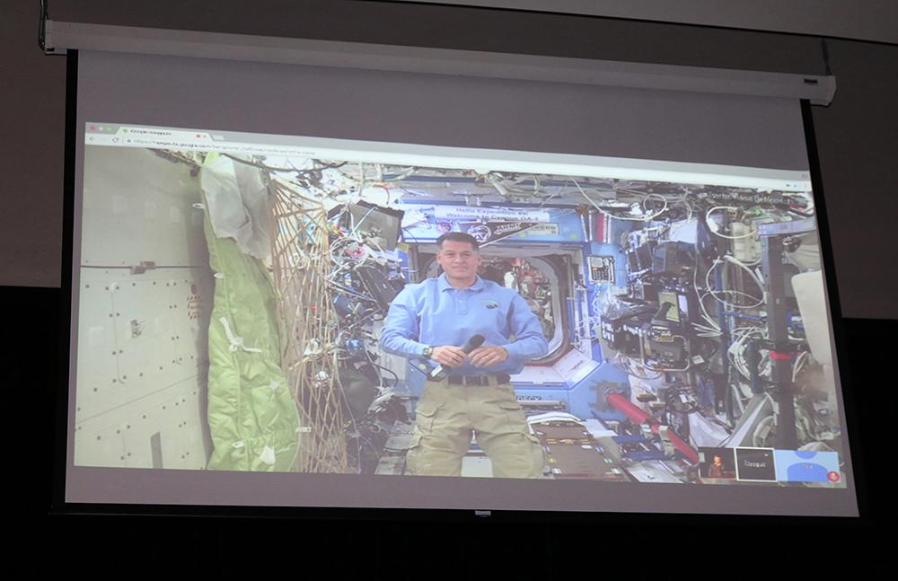 Commander Shane Kimbrough speaking to students during the NASA Simulink. Courtesy of Tracie Apel
