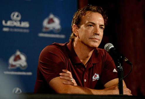 DENVER, CO - SEPTEMBER 18: Colorado Avalanche Executive Vice President Joe Sakic talks to media about the upcoming season, September 18, 2014. Avalanche veterans reported today for physicals and media availability at the Pepsi Center. (Photo by RJ Sangosti/The Denver Post)
