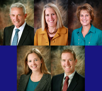 The current Jeffco Board of Education from left to right top: Ron Mitchell (President), Ali Lasell (1st Vice President), Susan Harmon (2nd Vice President) bottom: Amanda Stevens (Secretary, and Brad Rupert (Treasurer) Courtesy of Jeffco Public Schools