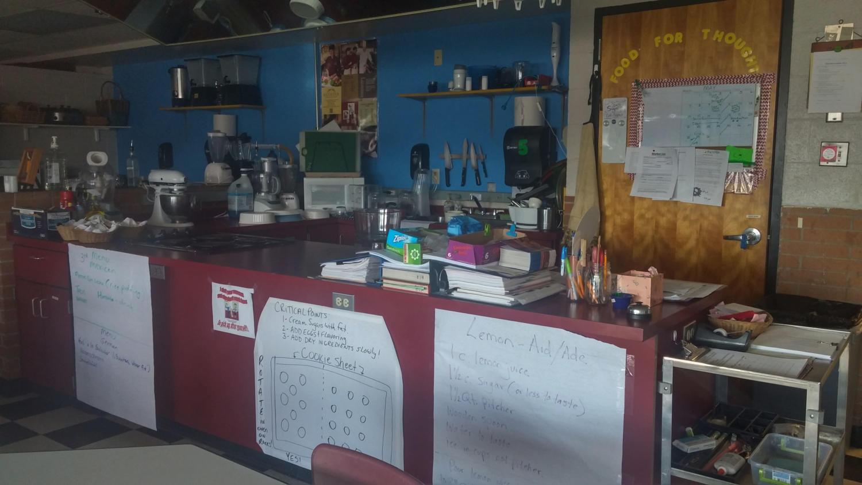 The teacher demonstration area in the FACS classroom awaits the last lessons of the program. by Rachel Vigil