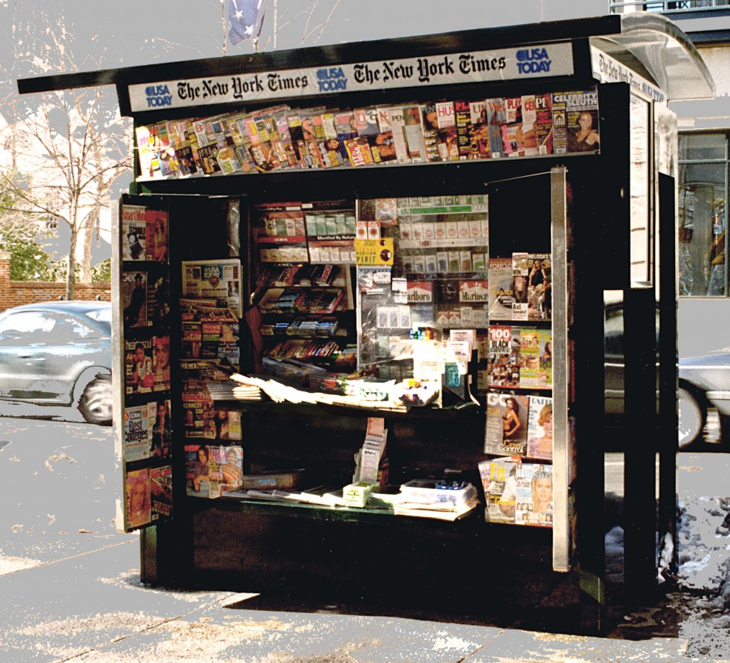 A newsstand in Philadelphia shows off print options for news sources. courtesy of claflenassociates