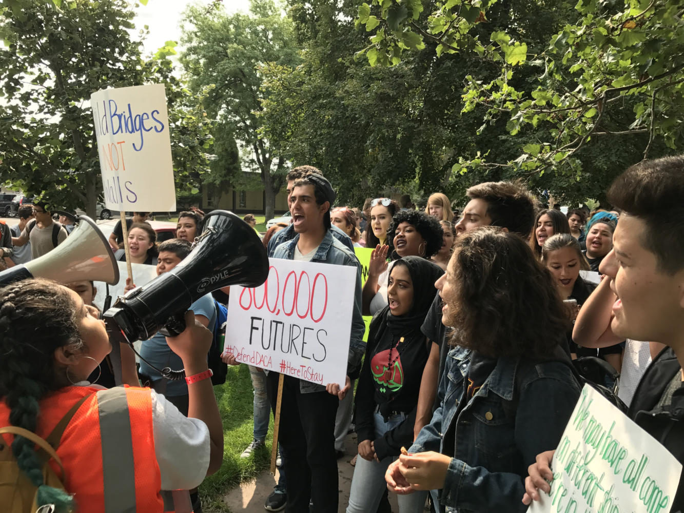 Students leading a chant in Denver at a walkout in protest of Trump's repeal of DACA. Courtesy of Melanie Asmar
