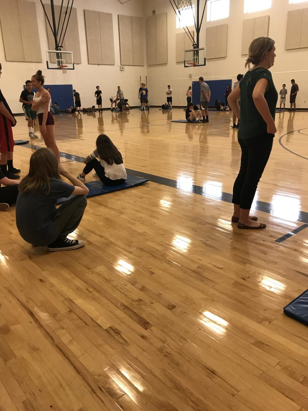 WRHS students doing the sit-ups test in gym class.
