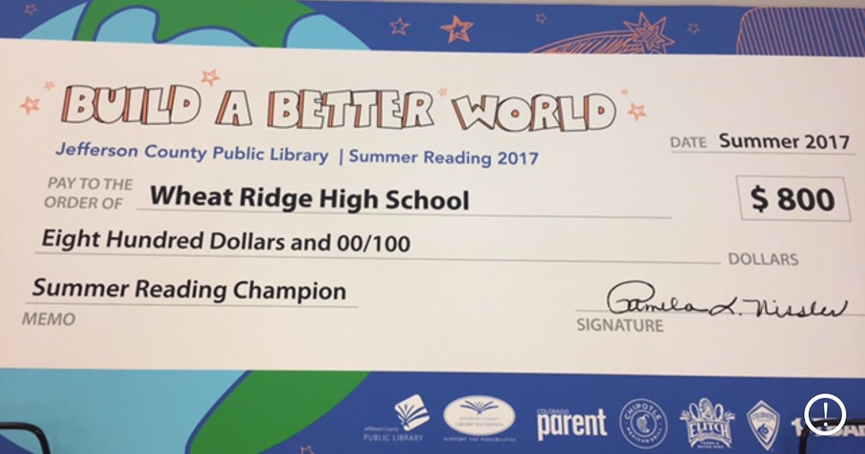Wheat Ridge High School's prize for winning the Jeffco Summer reading program.