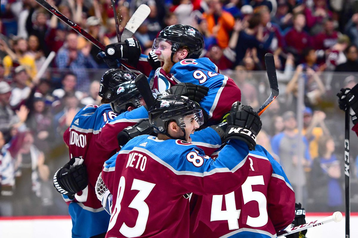 Avalanche players celebrate following their victory against the Blues on April 7th (Courtesy of NBC Sports)