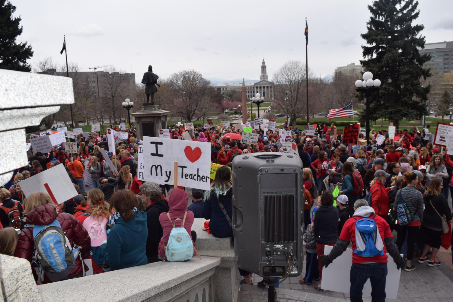 Educators and their supporters rally at the state Capitol April 26 for increased education funding and a secure retirement fund.