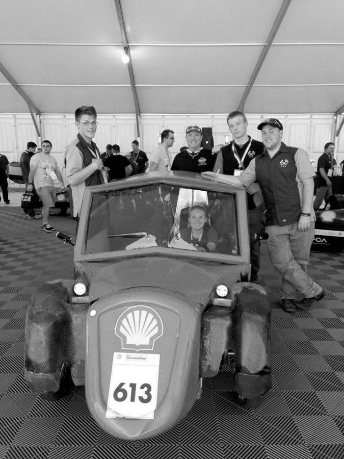 Wheat Ridge STEM team poses with their urban concept car.