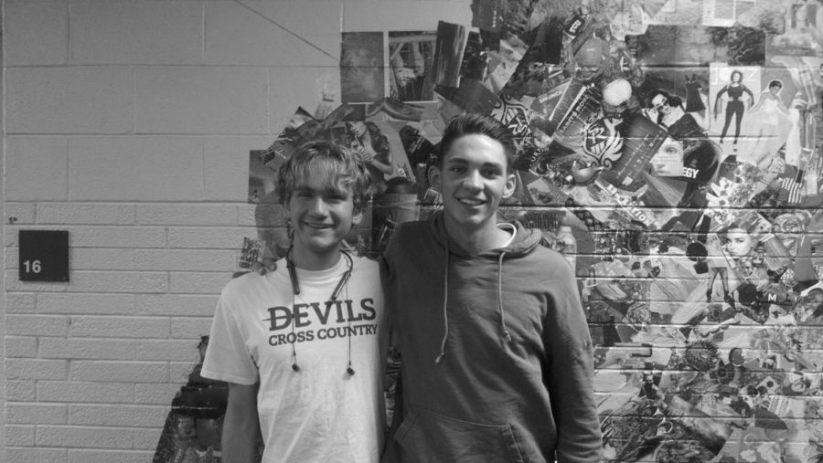 Isaac Hoskins and Joe Whitney smile proudly after receiving scholarships.
