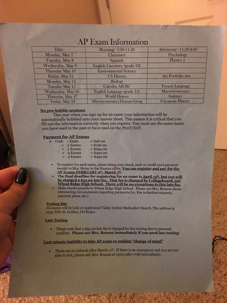 Information regarding AP schedules and location.