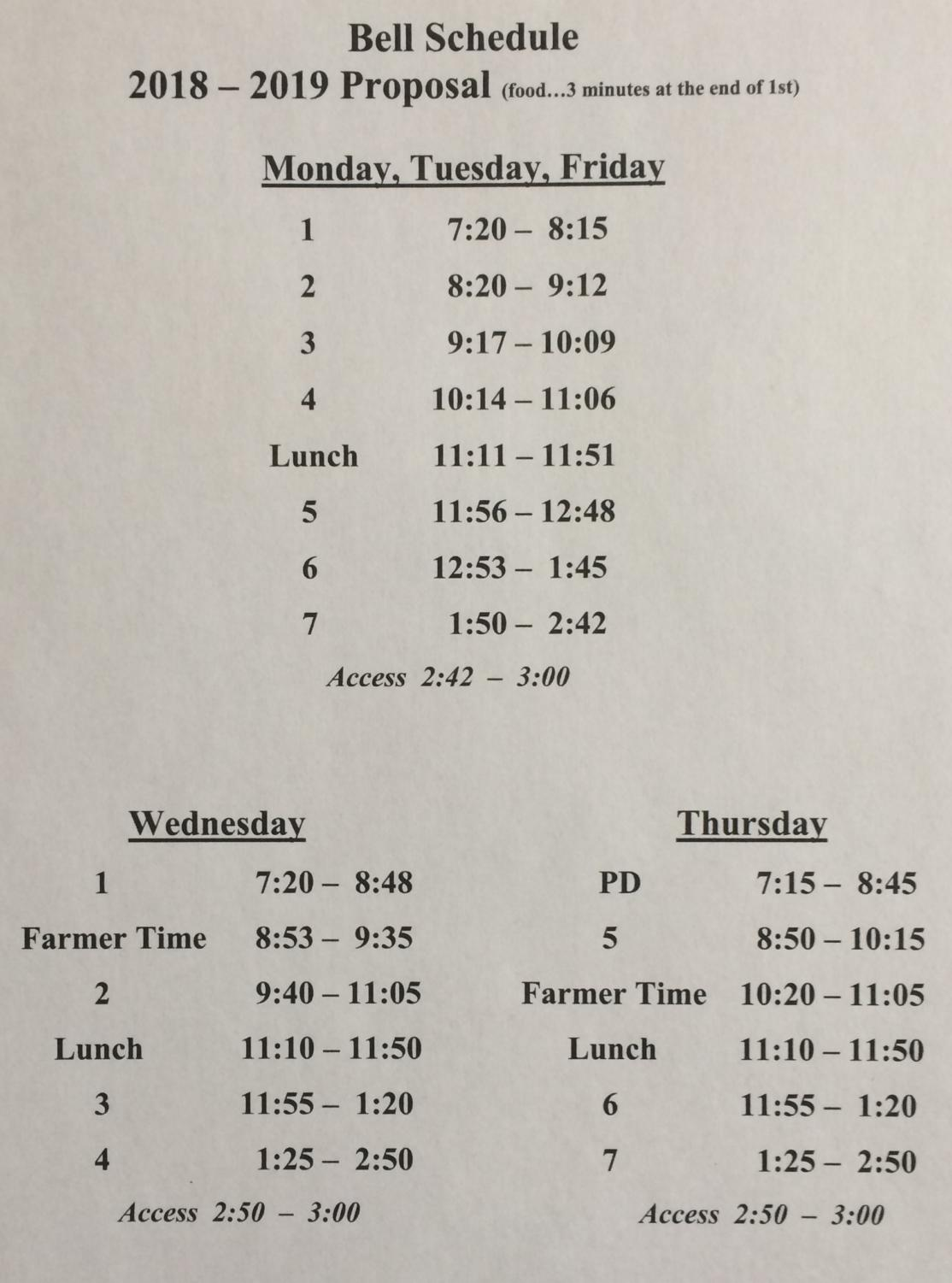 Next year's revised bell schedule.