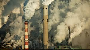 Carbon pollution entering the atmosphere.