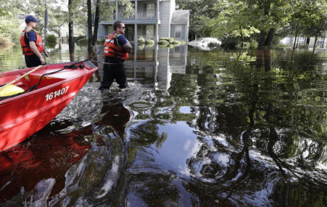 Member from the U.S. coastguard were in Lumberton, North Carolina to check on the flooded neighborhood