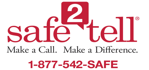 Safe2Tell phone number and logo.