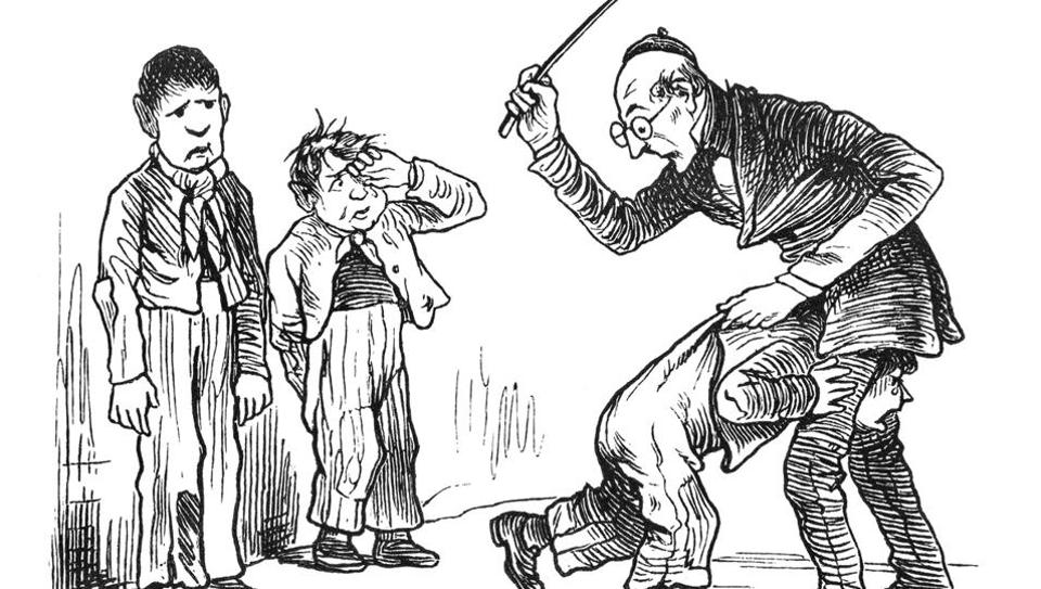 Cartoon depicting corporal punishment.