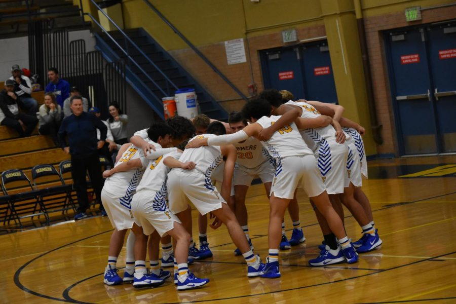 The Wheat Ridge Boys Basketball team getting ready to play.