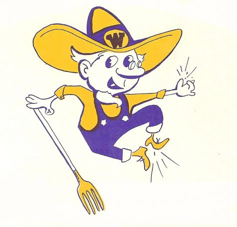 The old school Wheat Ridge High School Farmer logo.