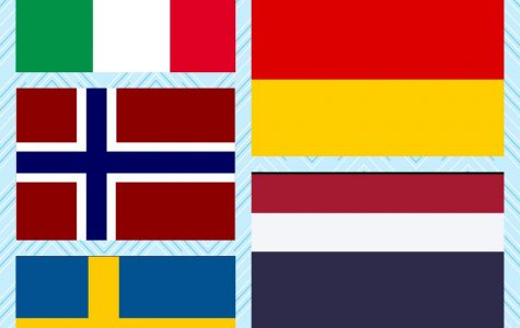 The national flags of where all the exchange students at WRHS are from