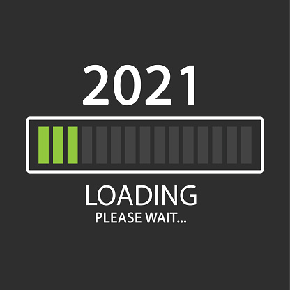 2021 New Year loading. Please wait. Flat design illustration on grey background.