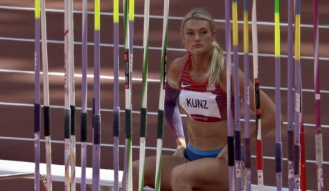 Annie Kunz waits for her turn at the Olympics.